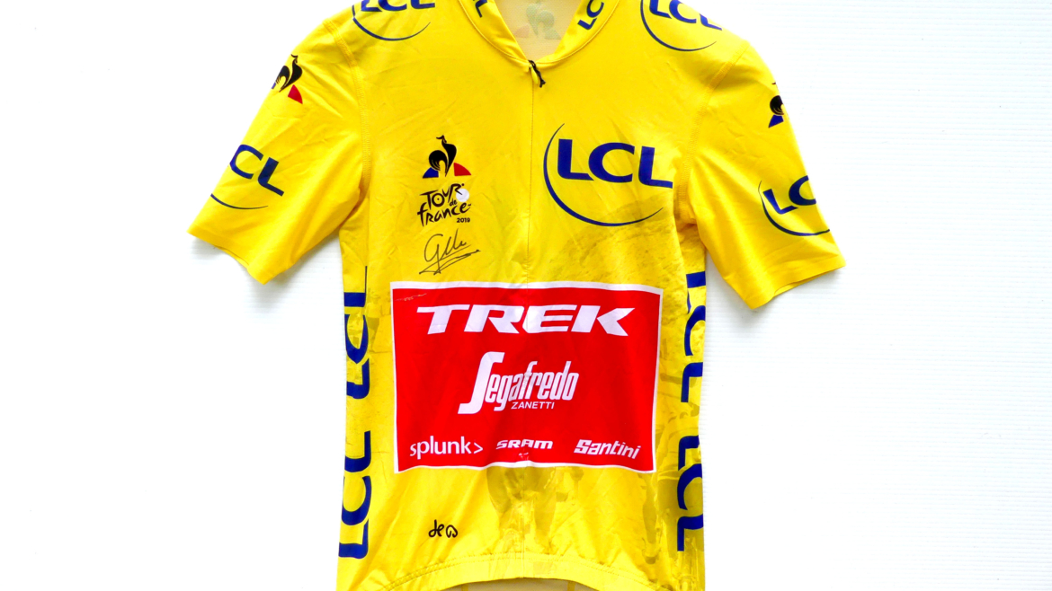 Signed Ciccone 2019 Yellow Tour de France jersey brought to you by Trek Bicycle Maple Ridge